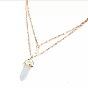 ❤️3for$25/ Layered Stone Necklace with Crescent Mn